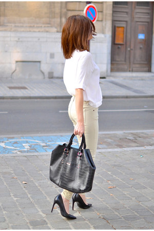 black Mango bag - white Zara blouse - eggshell Berenice pants