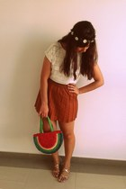 burnt orange skirt - ivory shirt - green Zara bag