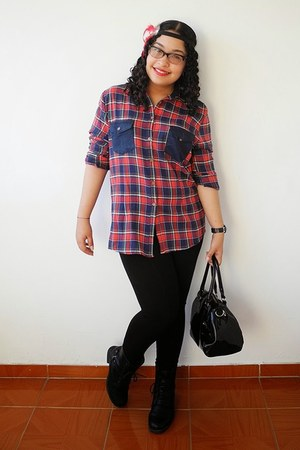 ruby red flannel Garota shirt - black boots - black Zara leggings