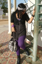 gray Peperitas - black Hand Made jacket - purple gef top - gray Bershka t-shirt