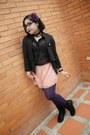 Black-siberian-boots-black-aishop-blazer-purple-balu-tights