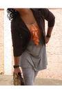 Orange-dress-brown-naf-naf-blazer-gray-bershka-leggings-brown-shoes-oran