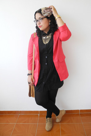 red Traki jacket - camel Zara shoes - black True Addiction dress