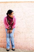 pink blazer - blue Just Usa jeans - yellow shirt - pink scarf - black shoes - pi
