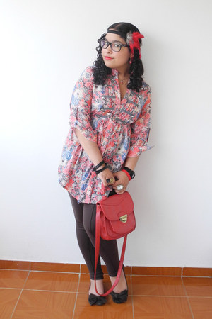 True Addiction blouse - Naf Naf leggings - Forever 21 bag