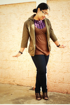 green Levis jacket - brown Pima cotton blouse - purple Bershka shirt - blue jean