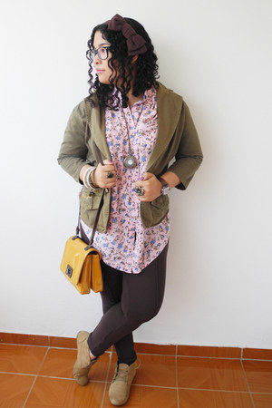 pink True Addiction blouse - camel Zara boots - army green Levis jacket