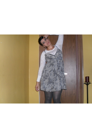 Wet Seal top - random brand dress - random brand tights - Nine West boots