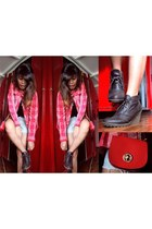 brown wedge parisian shoes and bags boots - red plaid hey DUDE shirt