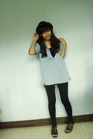 black leggings - blue blouse - black shoes - black hat - blouse