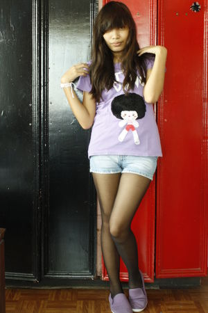 purple t-shirt - blue skirt - purple cubao expo shoes shoes