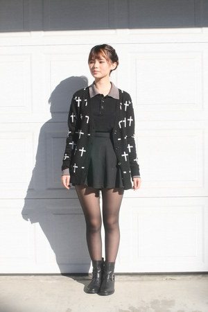 black boots - black button up shirt - black circle skirt - black cross cardigan
