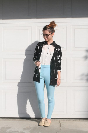 white collared blouse - glasses - light blue pants - black cross cardigan