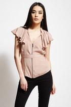light pink zipper ruffle stella & jamie top