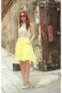 Yellow-cos-skirt-periwinkle-sophia-webster-heels