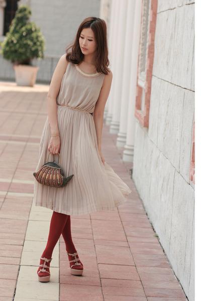 beige Marni sandals - neutral from laurustinus dress - crimson from Macau purse