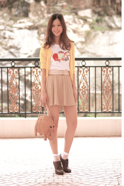 beige Zara skirt - tan kate spade bag - white Chicwish socks