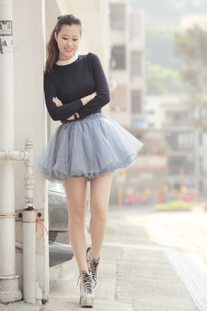 light pink Choies boots - periwinkle ianywear skirt - navy Yesstyle top