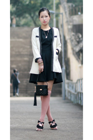 black Zara dress - off white jus blazer - light pink casselinni heels