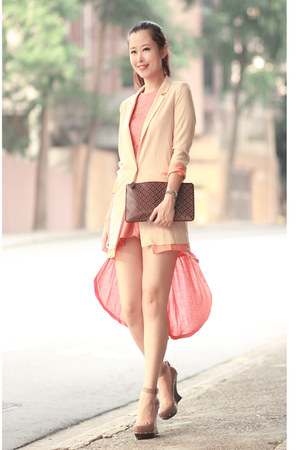 salmon Covetz dress - cream romwe blazer - brick red alaia bag