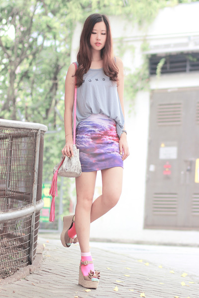 beckybwardrobe skirt - bubble gum quendoline bag - ianywear top