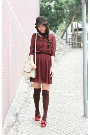 red sewing dress - red page boy shoes