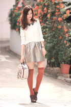 tan Yesstyle skirt - white chicwis blouse