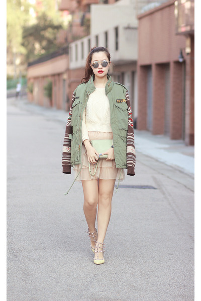 army green DS coat - chartreuse Celine bag - eggshell Yesstyle skirt