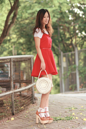red becky bloomwoods wardobe dress - ivory Modekungen bag - white H&M socks