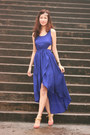 Blue-united-citizens-dress-pink-vionnet-heels