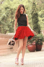 Black-chicwish-vest-red-chicwish-skirt-eggshell-christian-louboutin-heels