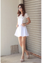 white cotton romwe dress - white cotton romwe top - periwinkle romwe glasses