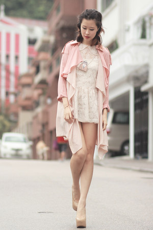 dark khaki Choies necklace - ivory Yesstyle dress - light pink Chicwish coat