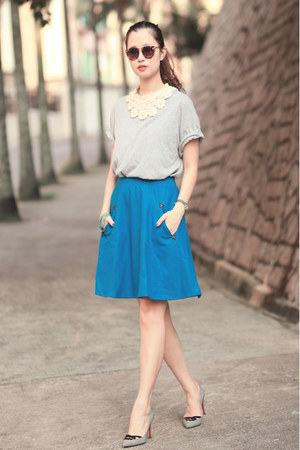 blue romwe skirt - navy Chicwish sunglasses - white Style Societal necklace