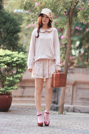 light pink Chicwish dress - brown Chicwish bag