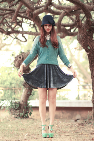 teal ianywear cardigan - turquoise blue awwdore skirt