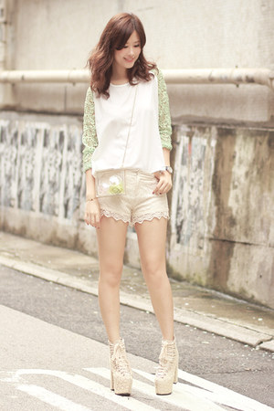 white Choies bag - ivory romwe shorts - lime green Chicwish top
