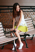 lime green Yesstyle skirt - white Christian Louboutin pumps - white zerone x sas