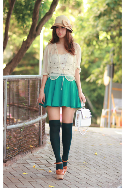 Chicwish skirt - asian i candy bag - Opening Ceremony heels - Topshop cardigan
