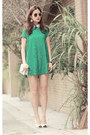 Teal-romwe-dress-lime-green-romwe-earrings-black-chanel-heels