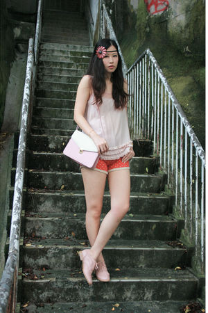 pink Forever 21 vest - red drwcys shorts - pink 15H shoes