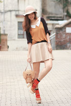 camel kate spade bag - carrot orange H&M socks - eggshell Zara skirt