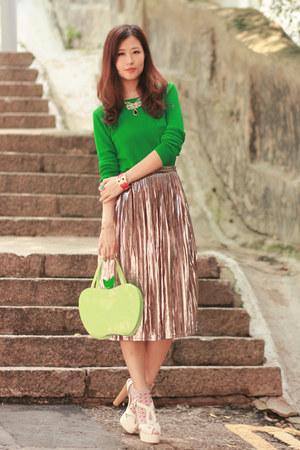 lime green from nara japan bag - green Yesstyle top - bronze romwe skirt