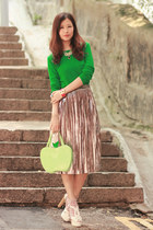 lime green from nara japan bag - green Yesstyle top - bronze romwe skirt