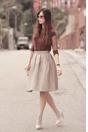 heather gray Chicwish skirt - coral romwe glasses - magenta laurustinus top