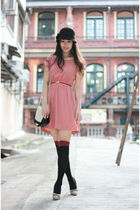 pink from laurustinus dress - beige Chloe shoes - brown BCBG hat