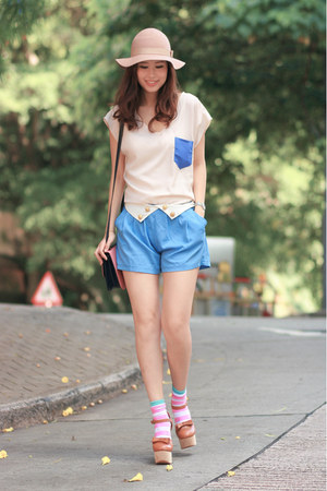 sky blue lovemartini shorts - bubble gum H&amp;M socks - tawny Opening Ceremony heel