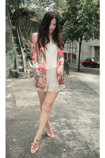 red Navy blazer - pink vanity beauty shoes
