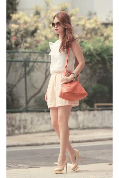carrot orange Miu Miu bag - neutral Front Row Shop shorts - white Choies top