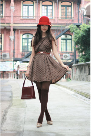 red hat - brown vavi & 1st dress - red vintage bag